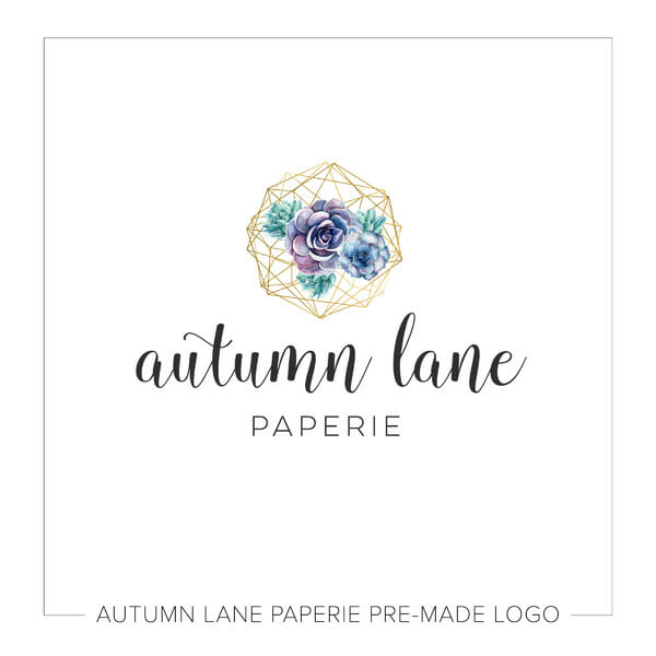 Autumn Lane Paperie Watercolor Logo Design - Succulent Logo