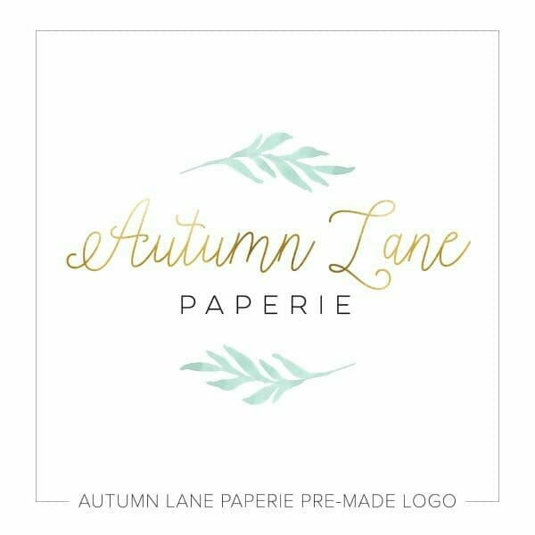 Autumn Lane Paperie Foil Handwriting Logo with Watercolor Foliage
