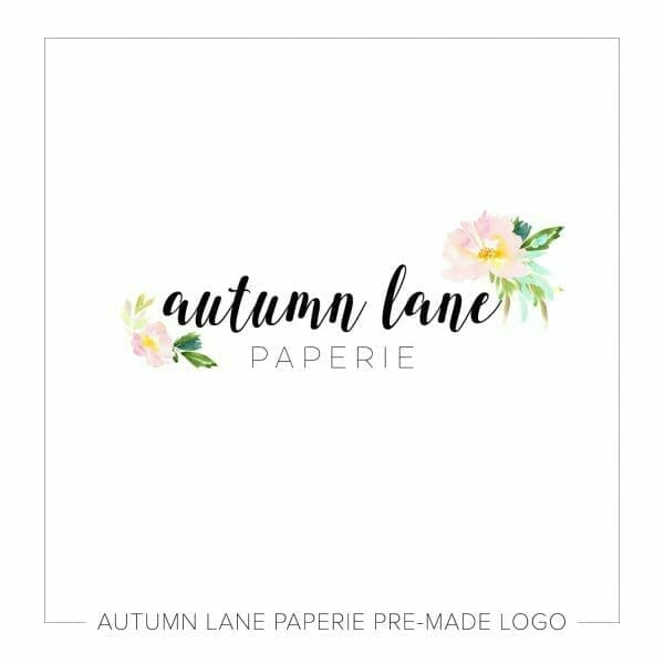 Autumn Lane Paperie Calligraphic Logo with Pink Watercolor Flowers