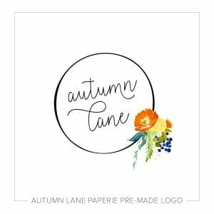 Autumn Lane Paperie Circle Logo with Orange & Yellow Watercolor Flowers