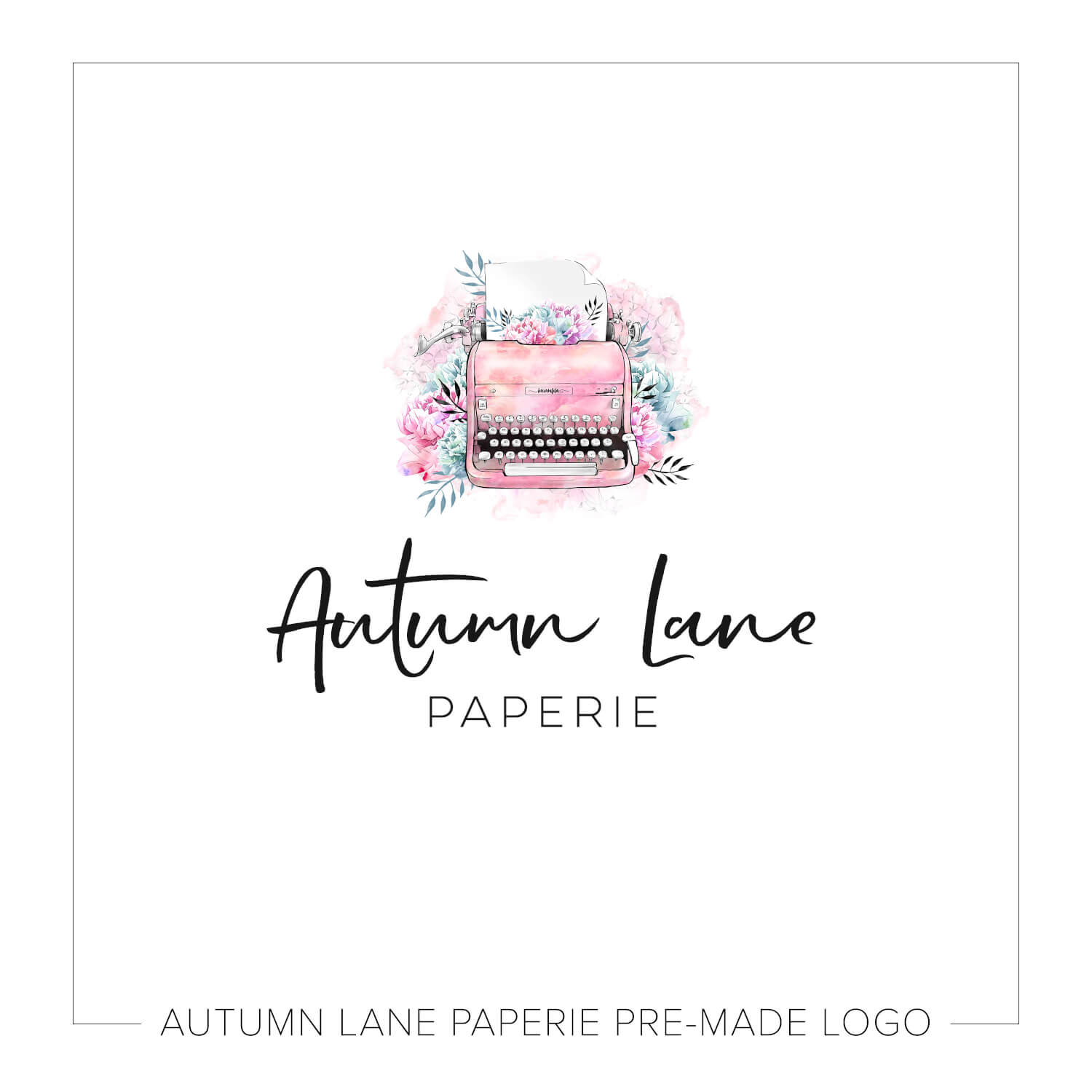 Pink Watercolor Typewriter Logo J26