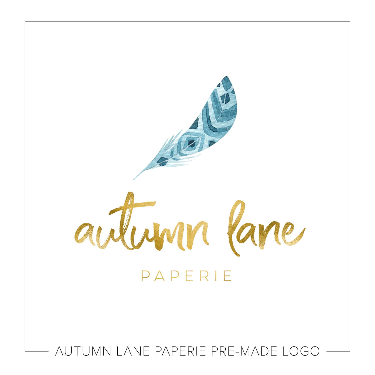 Bright Gold & Teal Feather Logo J59