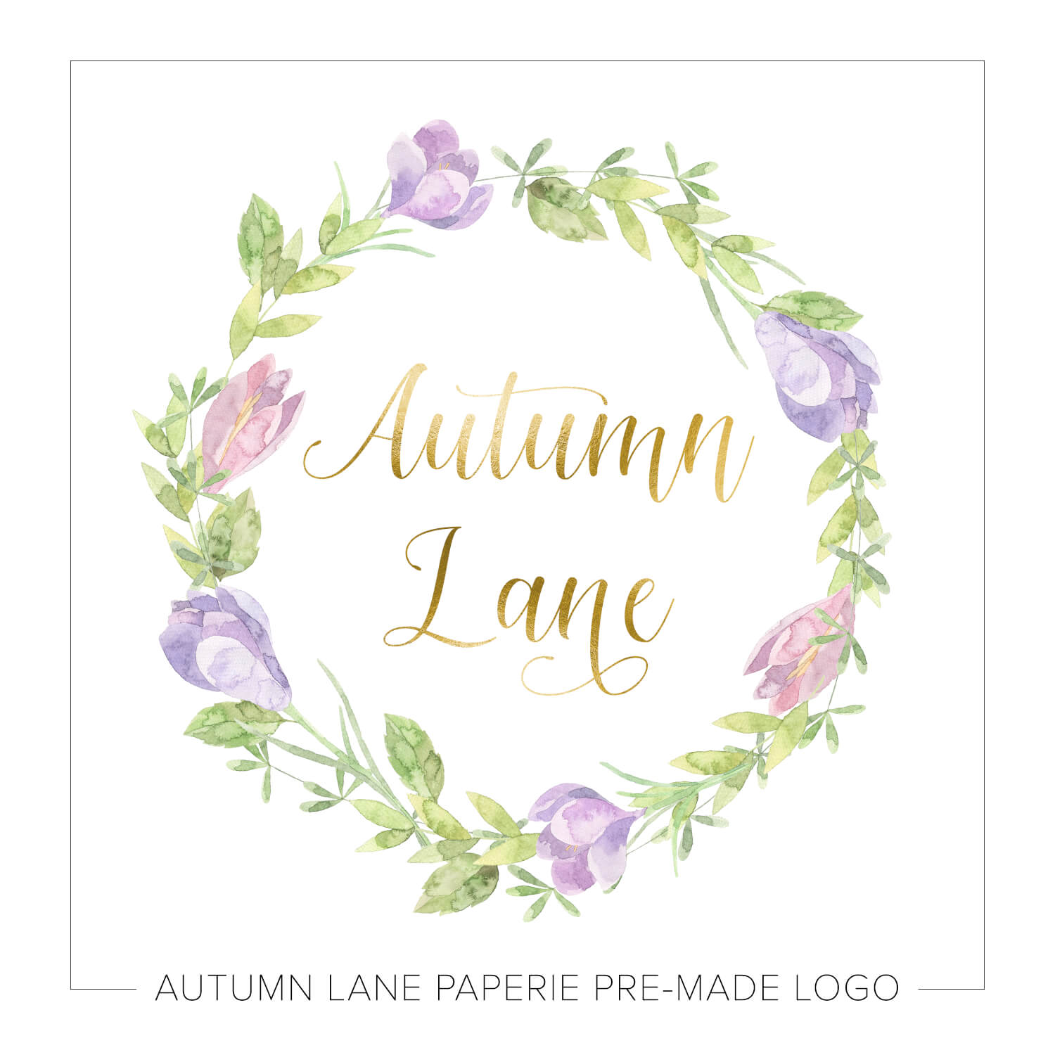 Purple & Green Floral Wreath Logo J56