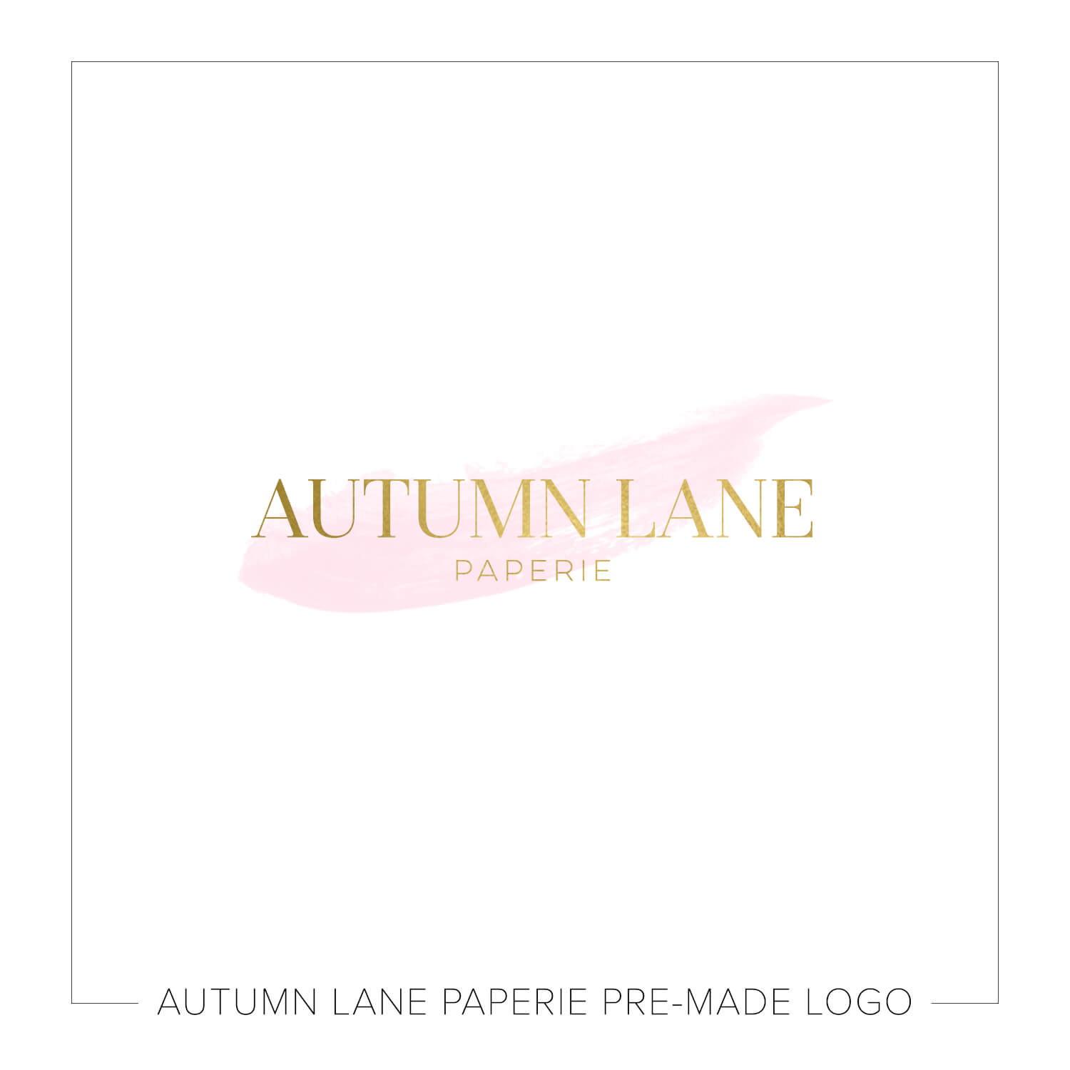 Autumn Lane Paperie Watercolor Logo Design - Gold & Blush Simple Logo J73