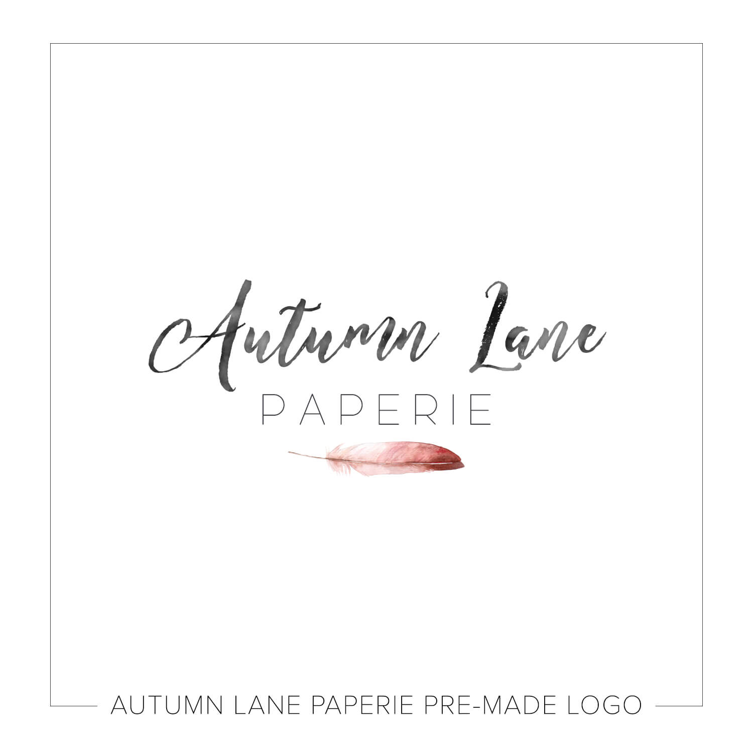 Red Watercolor Feather Logo J85