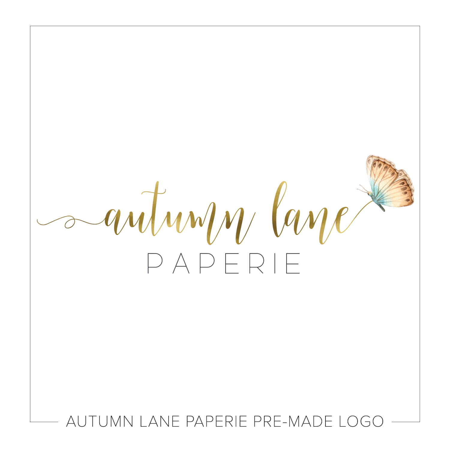 Autumn Lane Paperie Watercolor Logo Design - Beautiful Butterfly Gold Text Logo J87