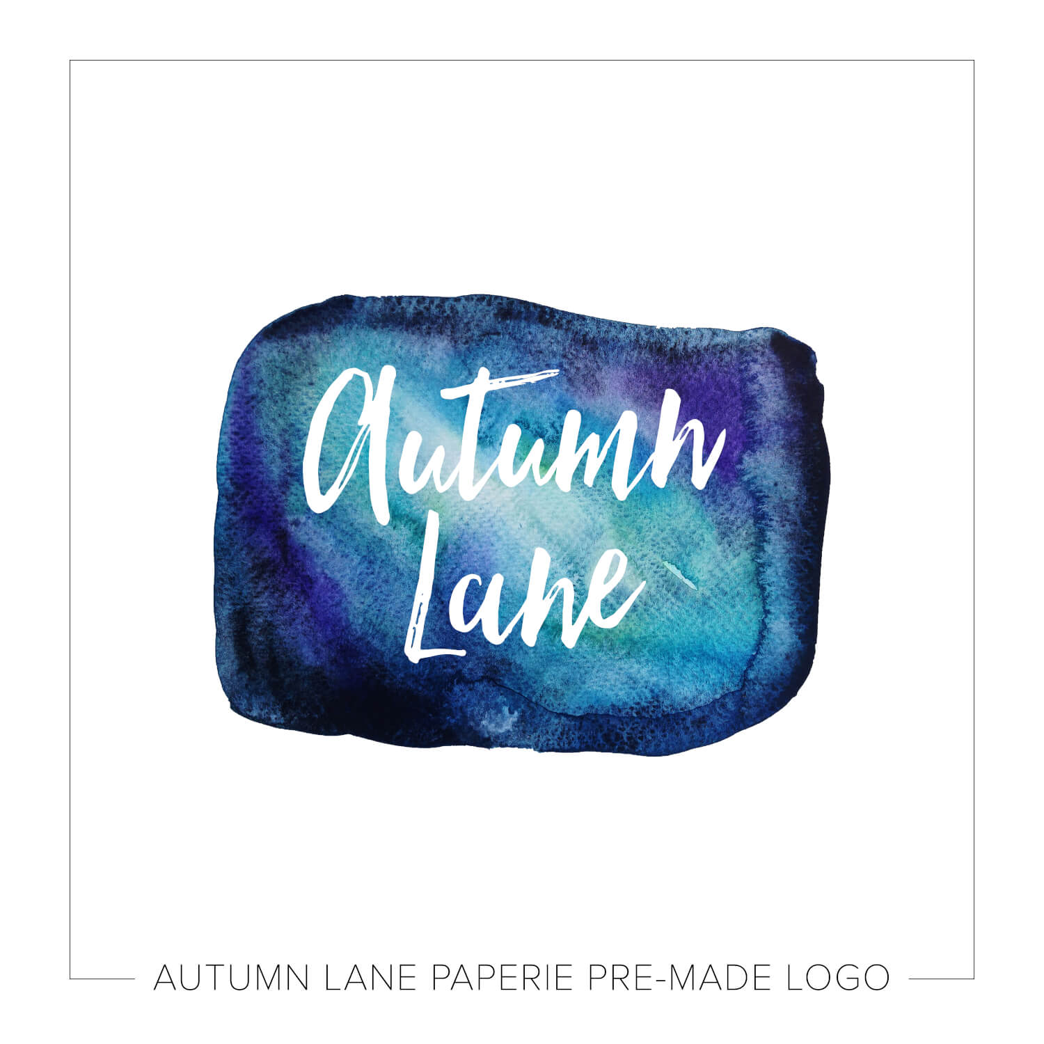 Autumn Lane Paperie Watercolor Logo Design - Deep Blue & Purple Watercolor Rectangle Logo J98