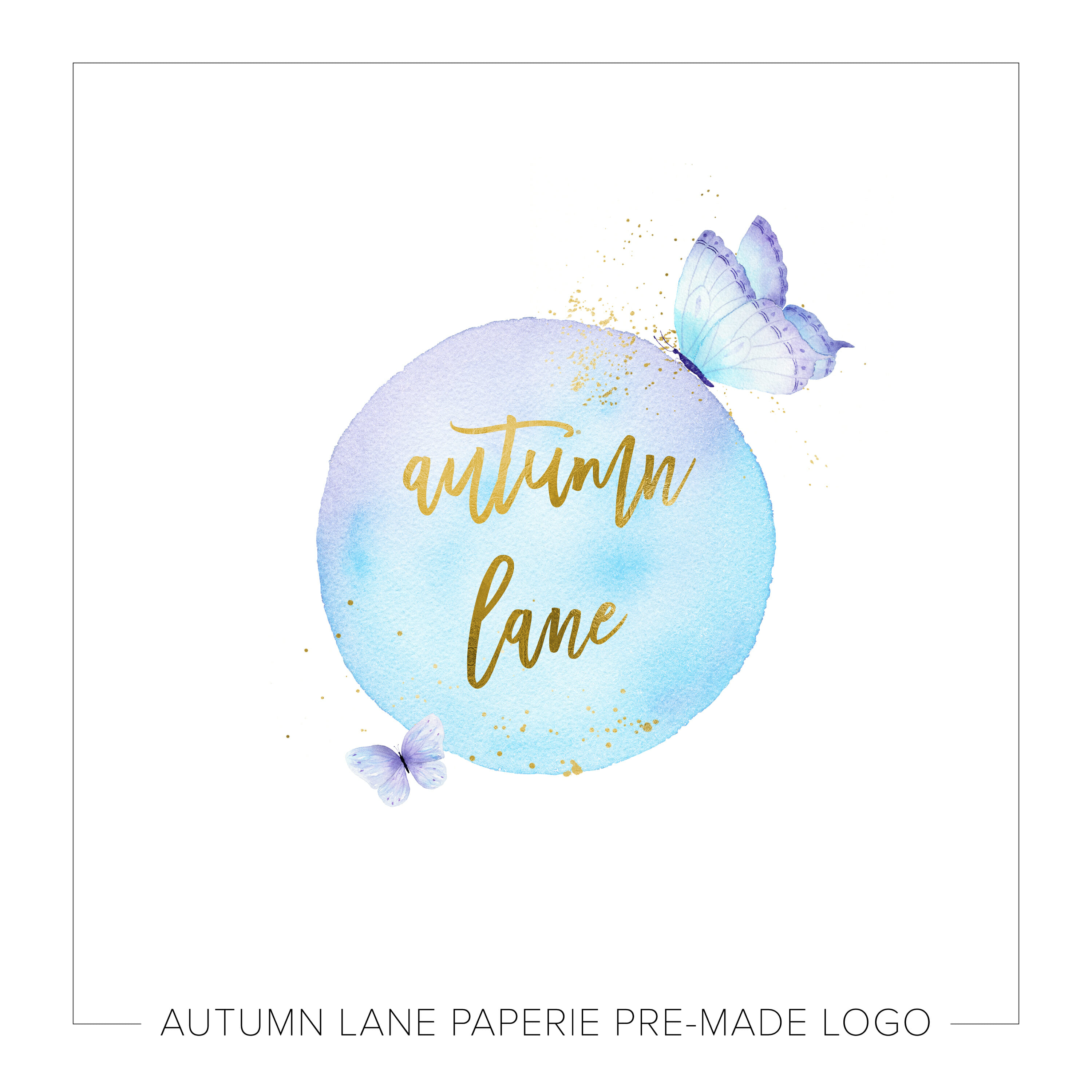 Whimsical Butterflies Watercolor Logo L15