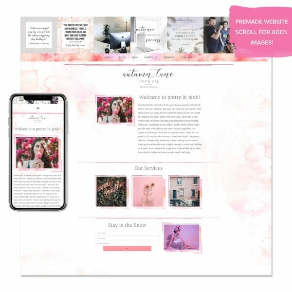 pretty in pink premade website