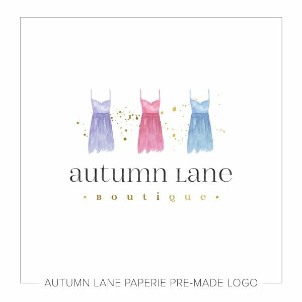 Autumn Lane Paperie Watercolor Logo Design - Fashion Boutique Logo with Dresses N53 | cute logo