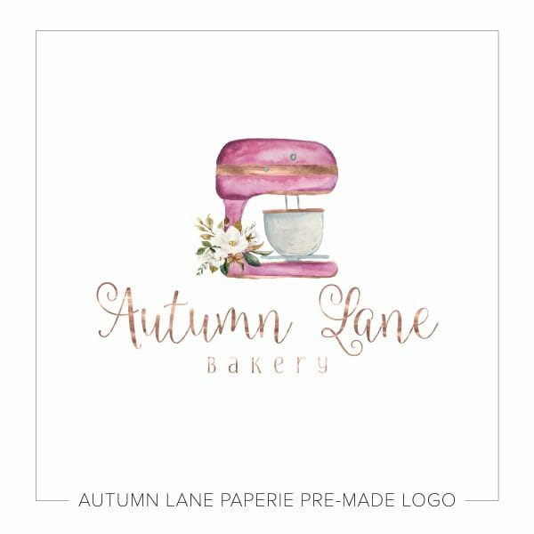 Stand Mixer Bakery Logo with Floral Bouquet N57