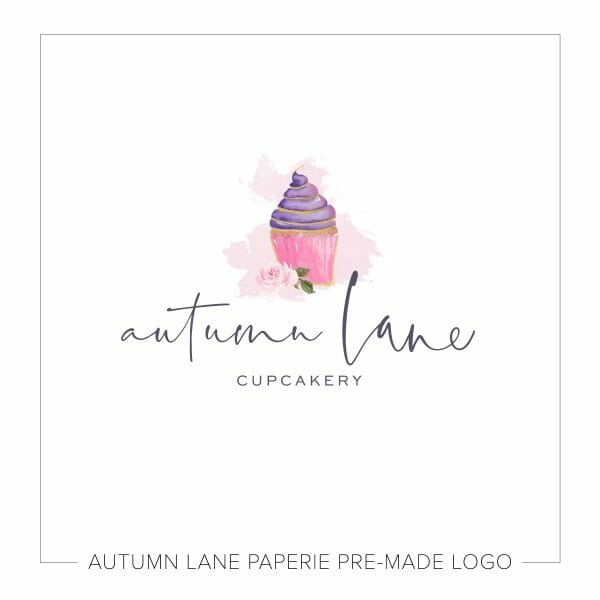 Autumn Lane Paperie Watercolor Logo Design Cute Logo