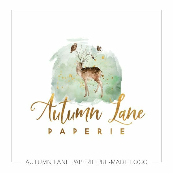 Autumn Lane Paperie Watercolor Logo Design - Cute Logo