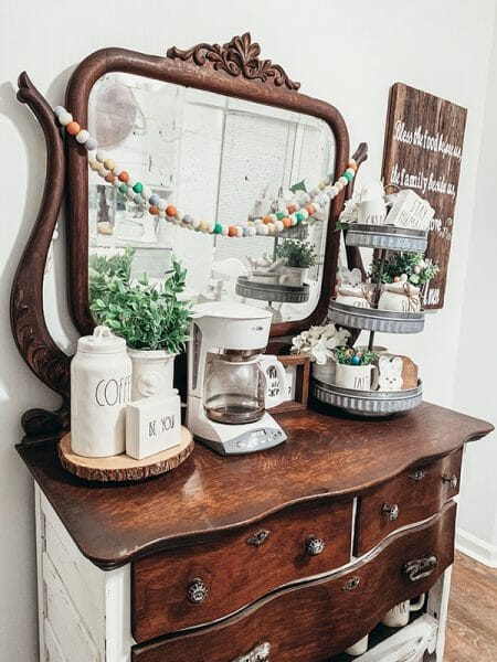 5 Acre Pine coffee bar from repurposed dresser Montgomery Alabama