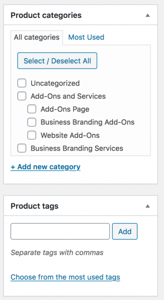 WooCommerce Product Categories & Tags