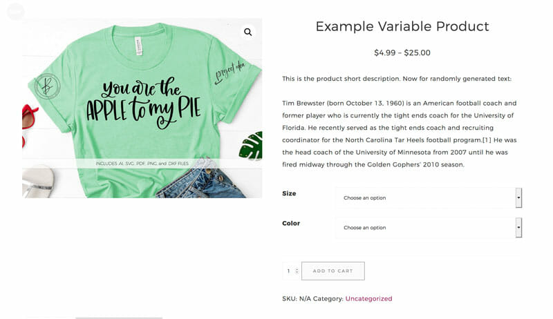 WooCommerce Example Variable Product