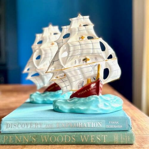 hand-painted ceramic ships curated by Emma & Jean Studios in Smithfield, VA