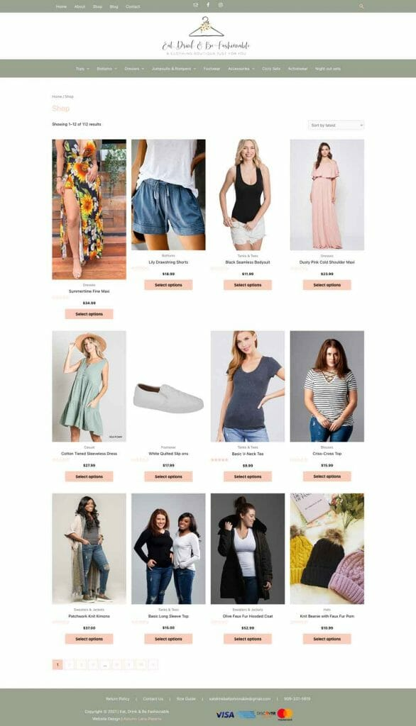 Eat, Drink, +Be Fashionable clothing boutique shop page